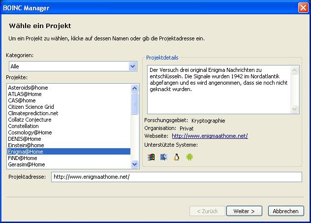 Boinc Manager Projekt hinzufuegen