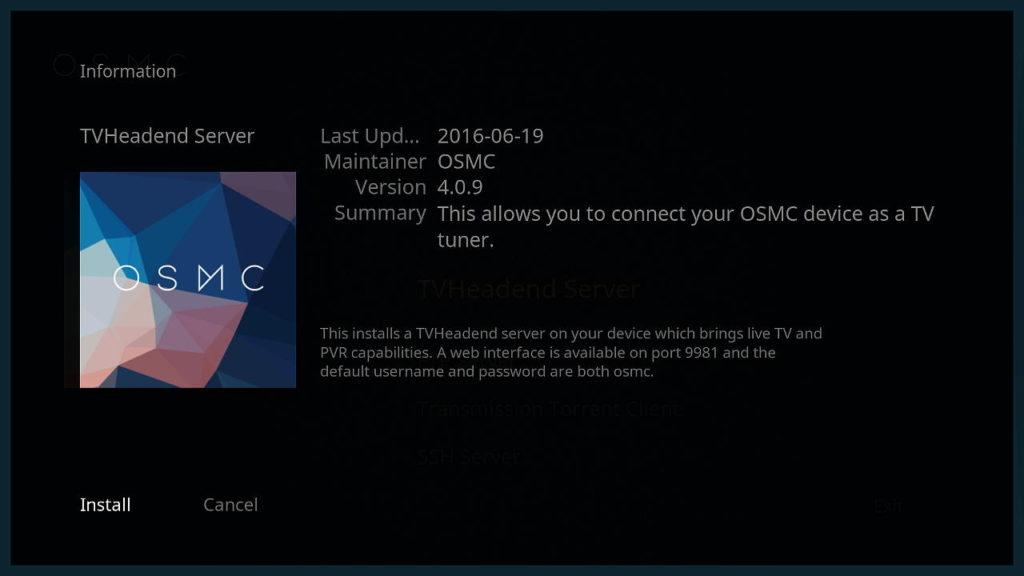 osmc-tvheadend-install
